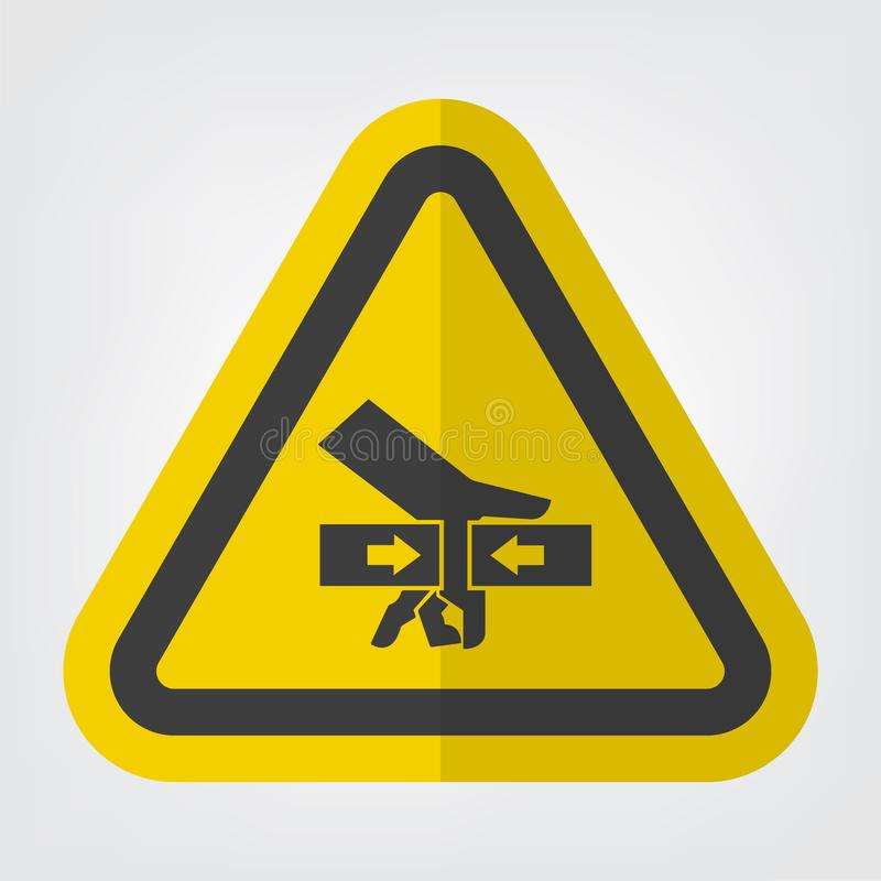 Forza di schiacciamento della mano dall'isolato del segno di simbolo di due lati su fondo bianco, illustrazione ENV di vettore 10 illustrazione di stock