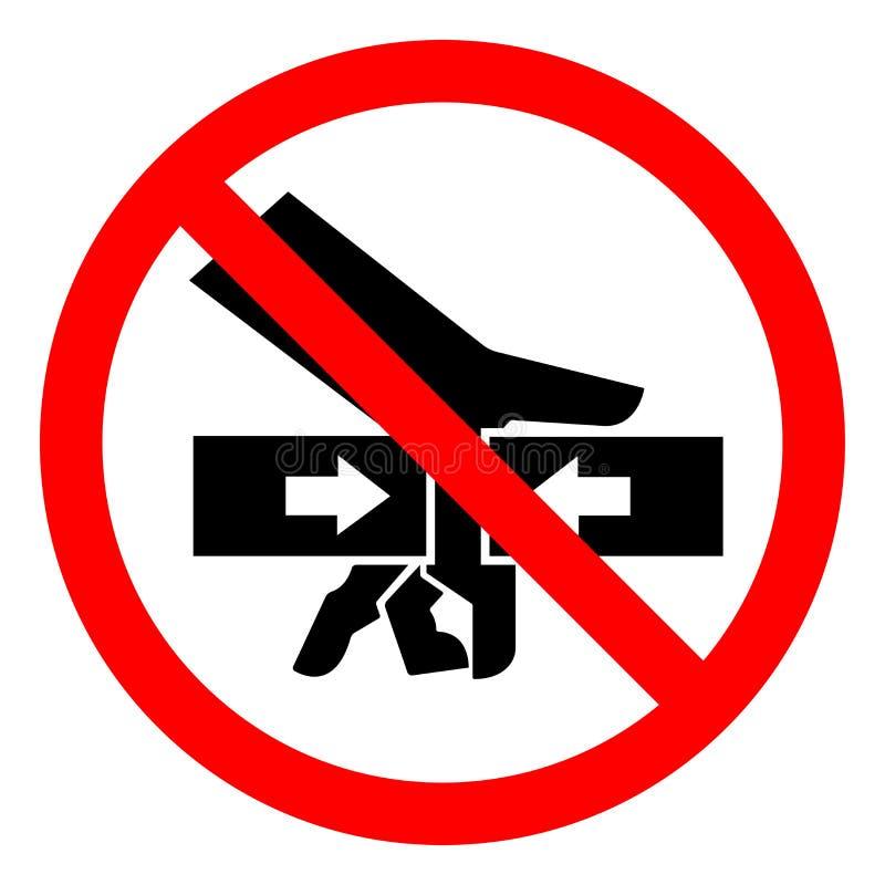 Forza di schiacciamento della mano di rischio di lesione dal segno di simbolo di due lati, illustrazione di vettore, isolato sull illustrazione di stock