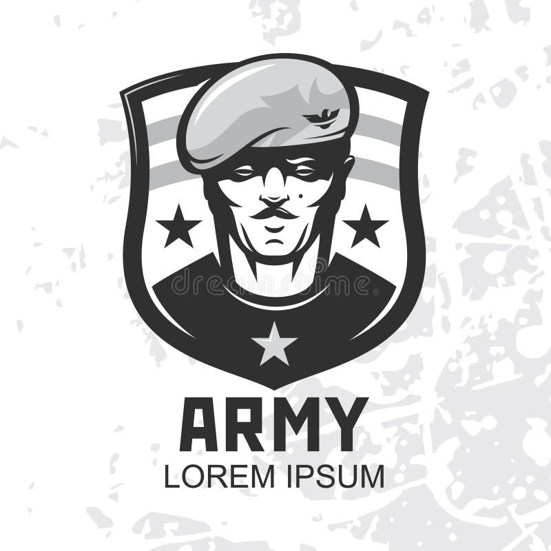 Forza speciale militare Icona vettore militare Mascotte guerriera royalty illustrazione gratis