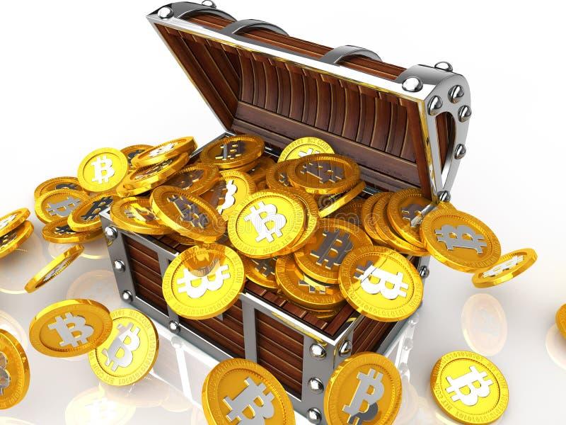 Forziere in pieno della moneta del pezzo illustrazione di stock