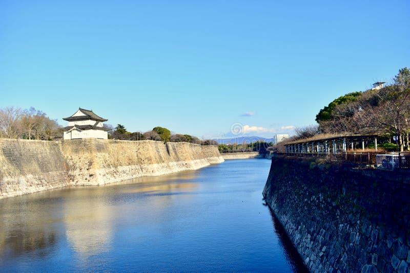 Fosa en Japón Osaka Castle Park, invierno imagen de archivo libre de regalías
