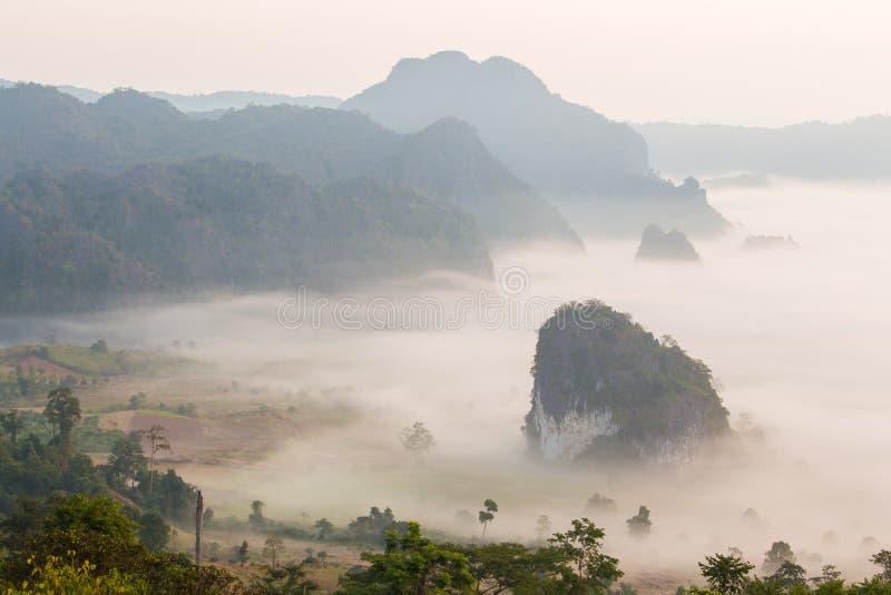 Foschia di mattina con la montagna fotografia stock
