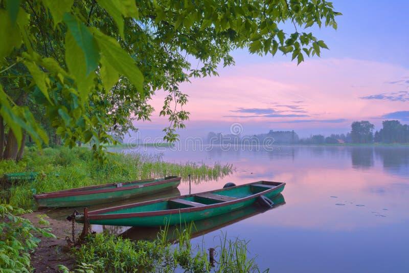 Foschia di mattina sopra il fiume. fotografie stock