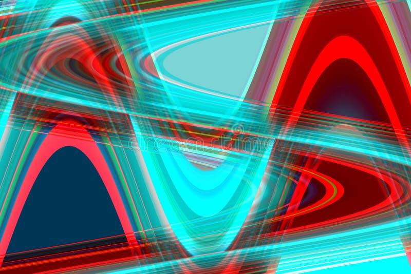 Fosforescerende rode blauwe vormen en vormen, geometrische abstracte achtergrond royalty-vrije illustratie