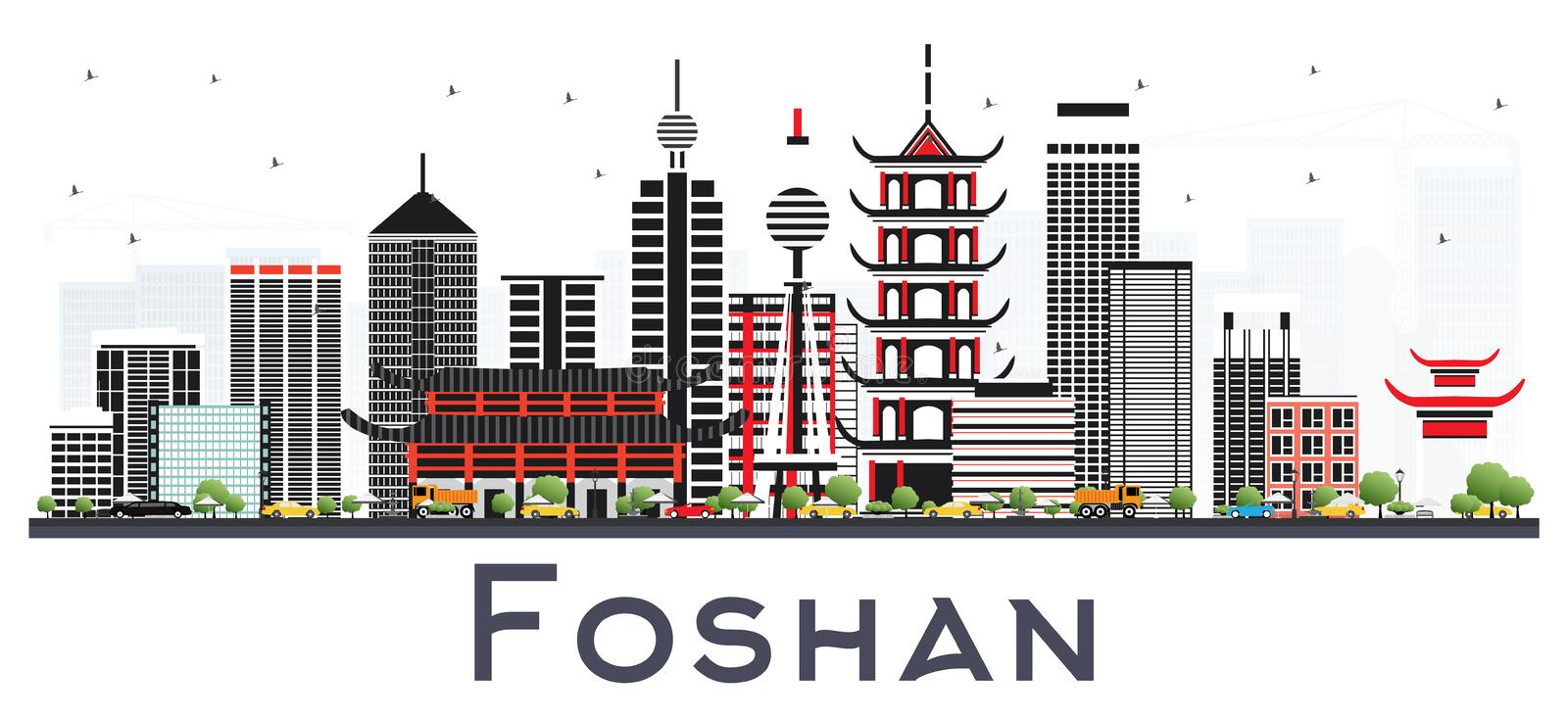 Foshan China City Skyline with Gray Buildings Isolated on White. Vector Illustration. Business Travel and Tourism Concept with Modern Architecture. Foshan royalty free illustration