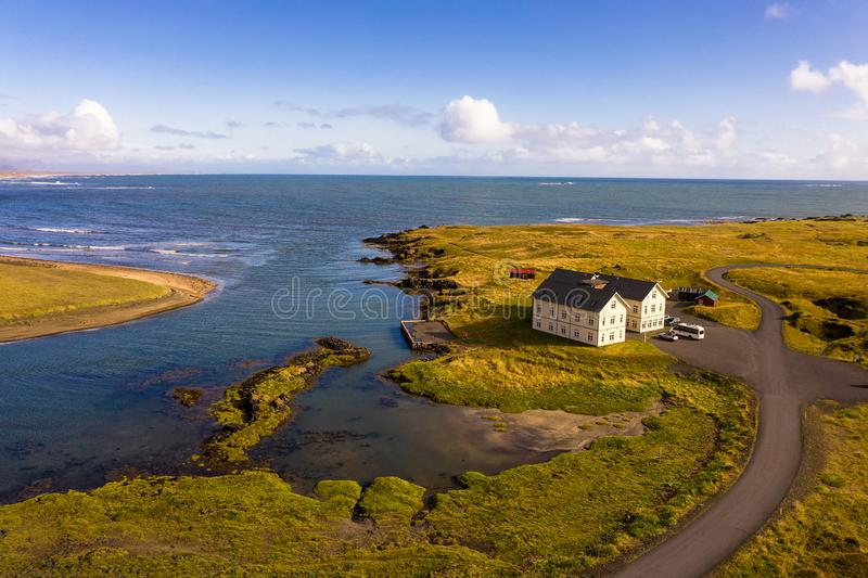 Fosshotel Glacier Lagoon with a restaurant located on the Ring Road in Iceland royalty free stock image