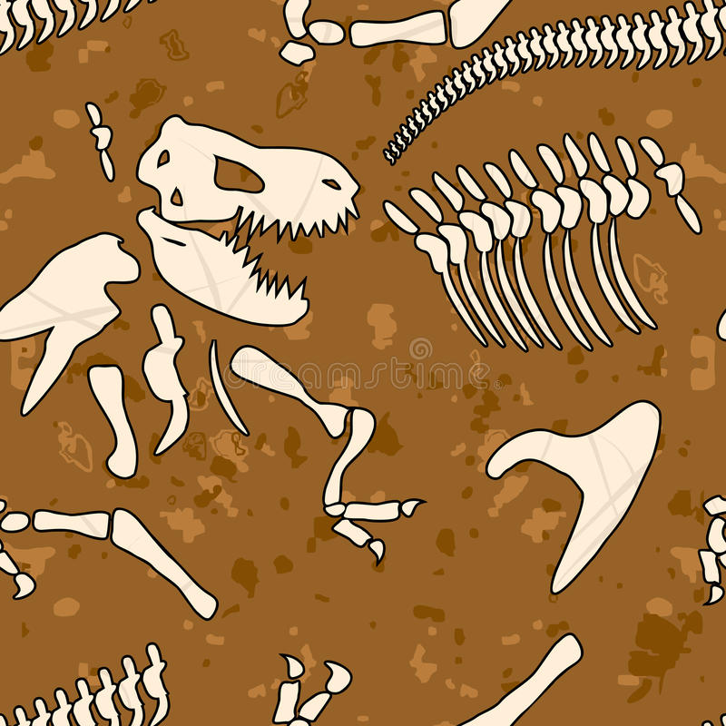 Fossiel dinosaurus naadloos patroon Beenderen van Tyrannosaurus vector illustratie