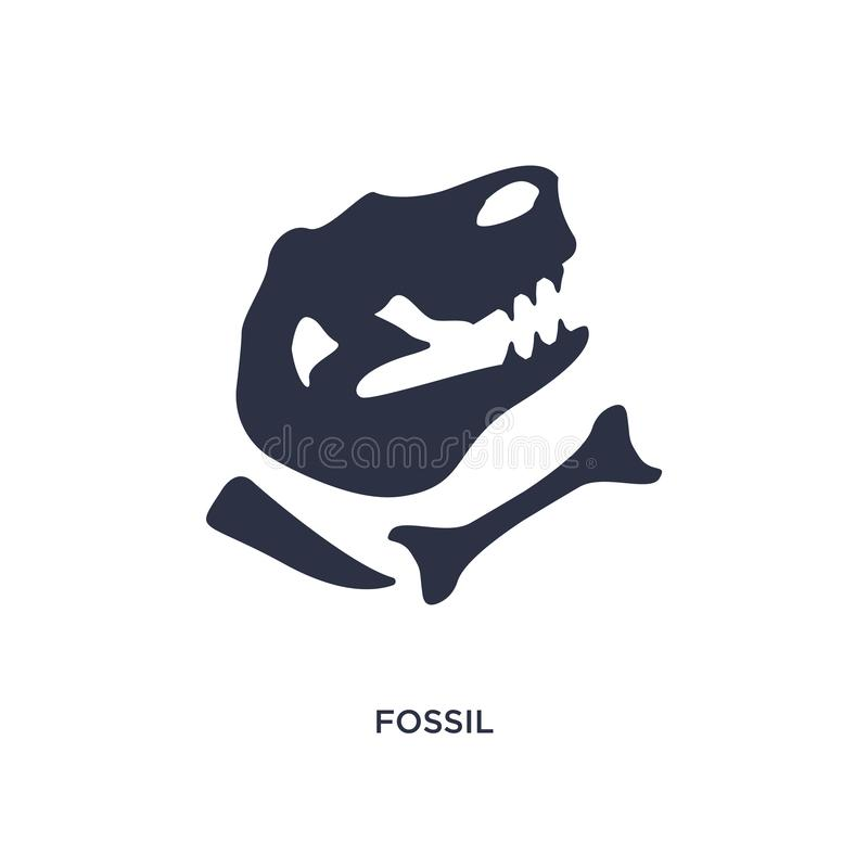 fossiel pictogram op witte achtergrond Eenvoudige elementenillustratie van geschiedenisconcept royalty-vrije illustratie