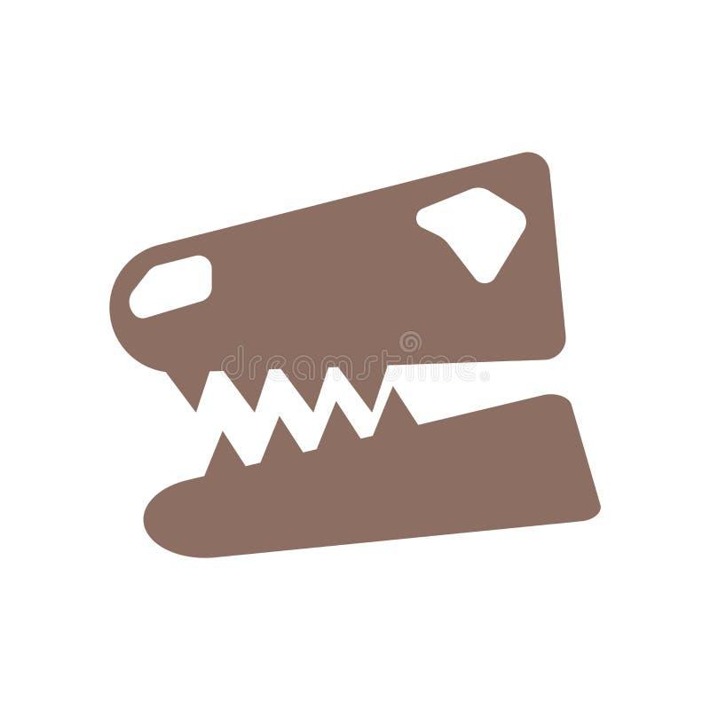 Fossiele die pictogramvector op witte achtergrond, Fossiel teken, de historische symbolen van de steenleeftijd wordt geïsoleerd stock illustratie