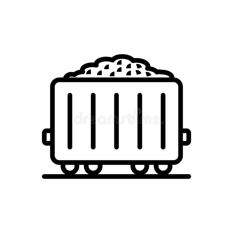 Black line icon for Fossil fuel, science and power royalty free illustration