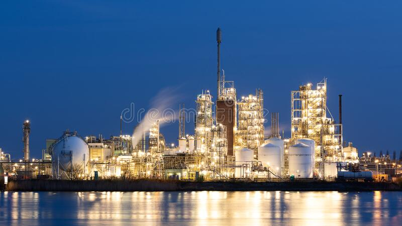 Fossil Fuel Industry - Chemical Plant or Refinery by Dusk royalty free stock photo