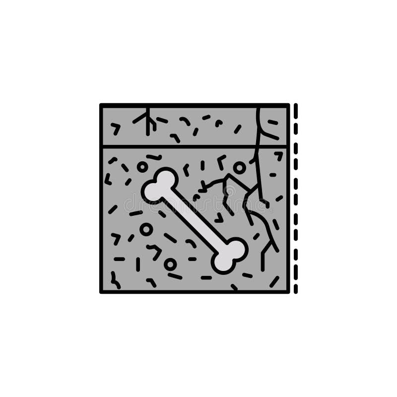 fossil- jord, ben, paleontologisymbol Beståndsdel av historiefärgsymbolen för mobila begrepps- och rengöringsdukapps Färgfossil,  royaltyfri illustrationer