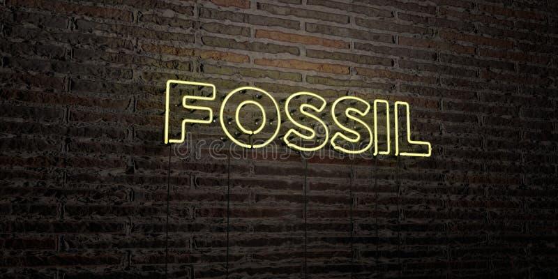 FOSSIL - realistische Leuchtreklame auf Backsteinmauerhintergrund - 3D übertrug freies Archivbild der Abgabe vektor abbildung