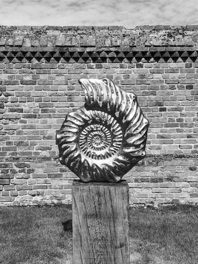 Fossil sculpture artwork black and white. Black and white picture of a fossil sculpture featured at  an exhibition with a brick wall in the background royalty free stock images
