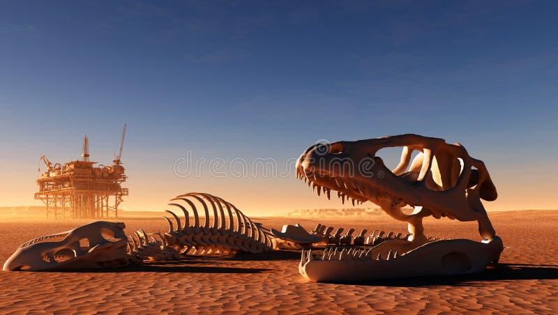 Fossil- skalle för Triceratops över vit isolerad bakgrund vektor illustrationer