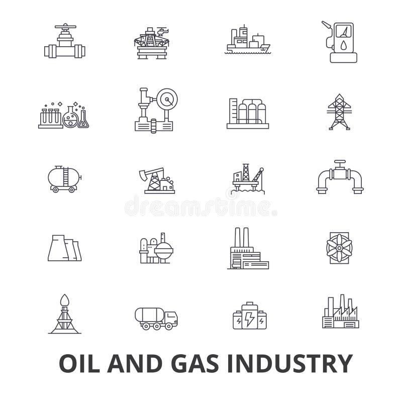 Fossila bränslenbransch, rigg, plattform, utforskning, raffinaderi, energi, industriell linje symboler Redigerbara slaglängder Pl vektor illustrationer