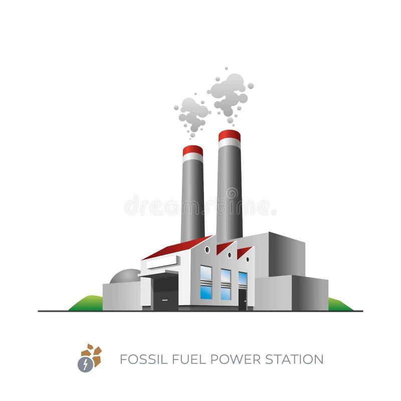 Fossila bränslenkraftverk stock illustrationer