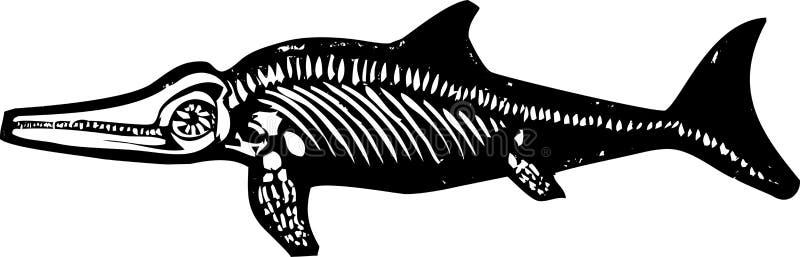 Fossile di dinosauro del Ichthyosaur illustrazione vettoriale