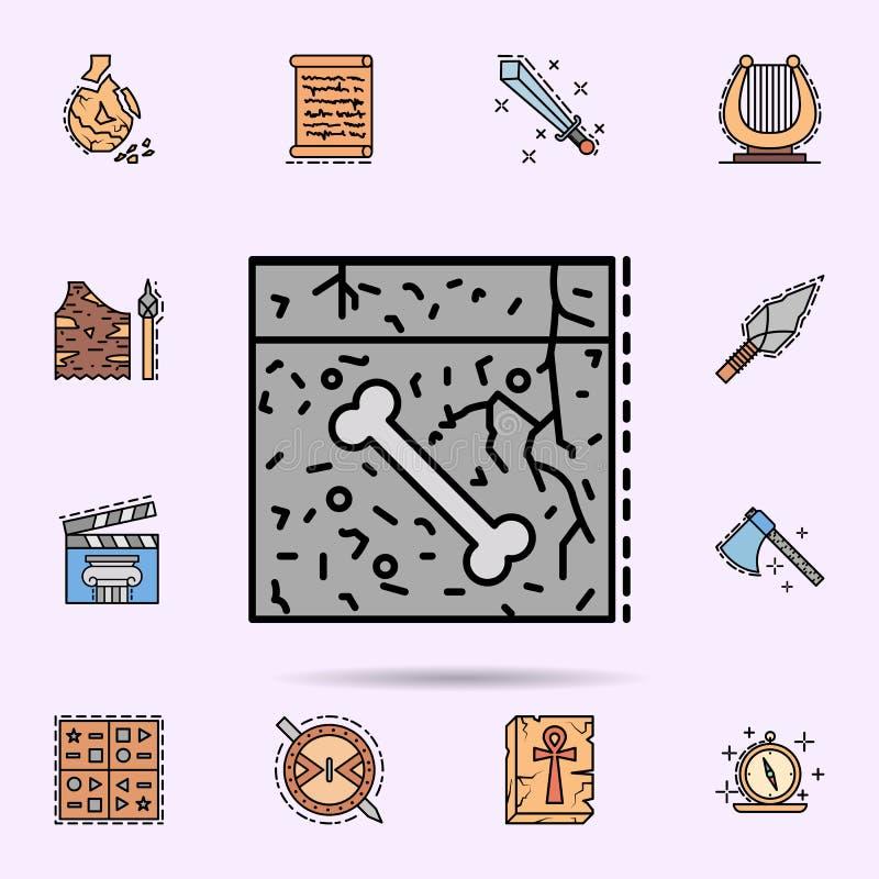 fossile, sol, os, ic?ne de pal?ontologie Ensemble universel d'histoire pour la conception de site Web et le d?veloppement, d?velo illustration libre de droits