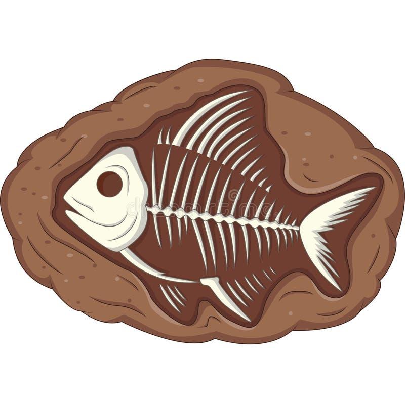 Fossile sotterraneo del pesce illustrazione vettoriale