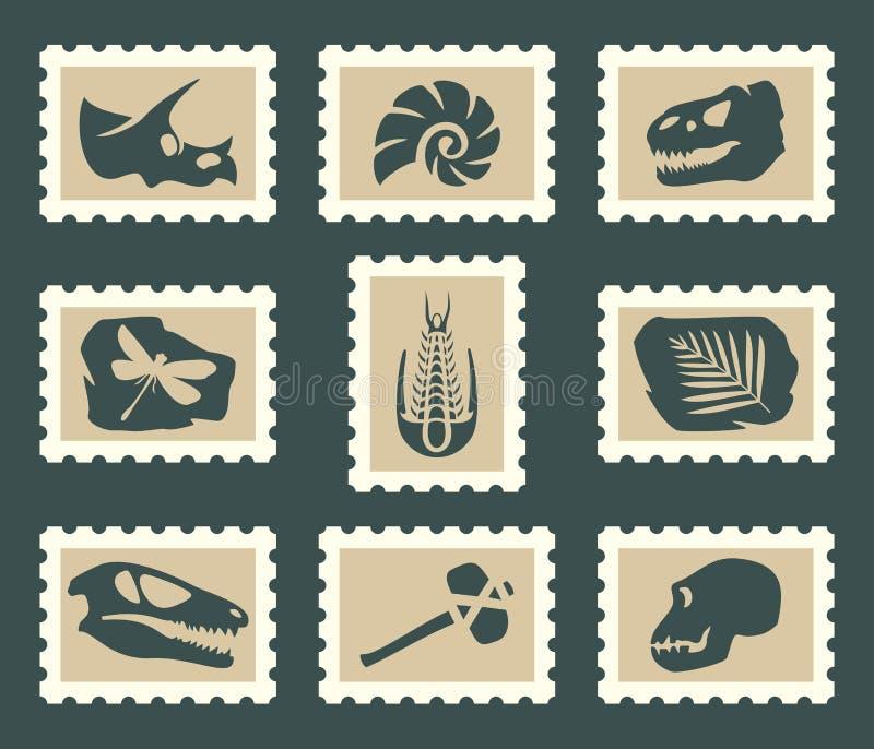 Fossiles uppsättning vektor illustrationer