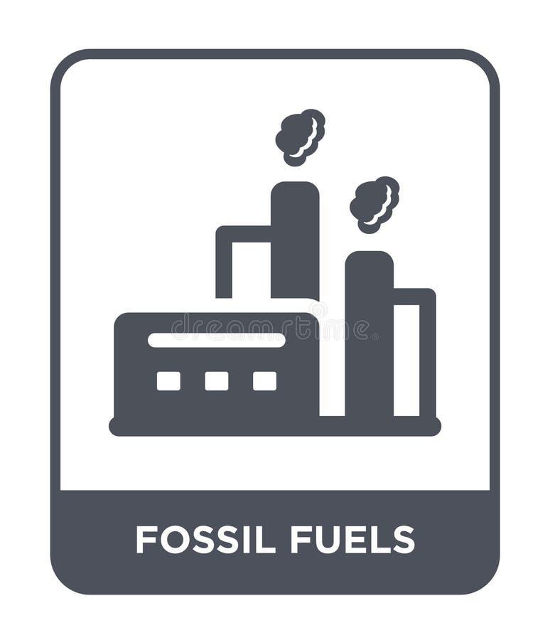 Fossilienbrennstoffikone in der modischen Entwurfsart Fossilienbrennstoffikone lokalisiert auf weißem Hintergrund Fossilienbrenns lizenzfreie abbildung