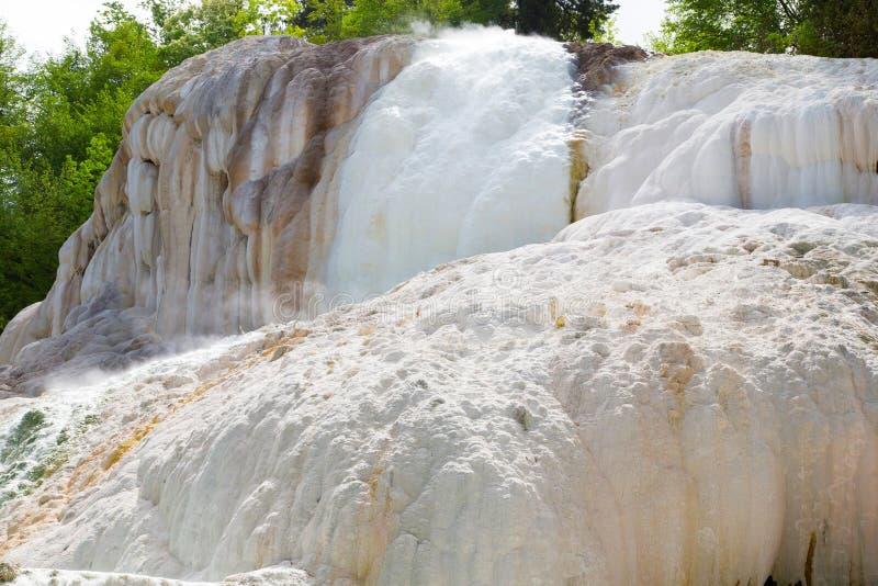 Fosso比安科温泉城在Bagni圣菲利波 库存照片