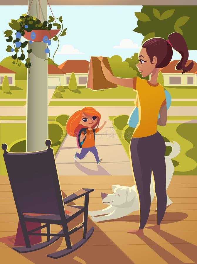 Fostra att se av dottern till skolaanseendet på farstubron av huset, överför henne ett mellanmål Ljus morgongata med soligt, roc vektor illustrationer