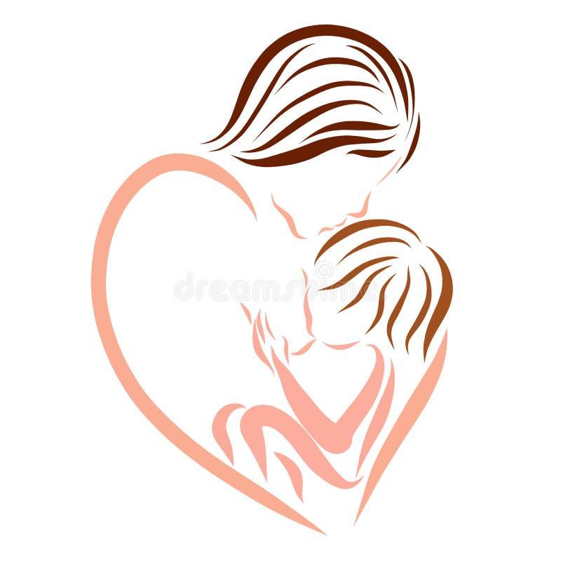 Fostra att vårda en behandla som ett barn, en förälskelse och en mjukhet, logo vektor illustrationer