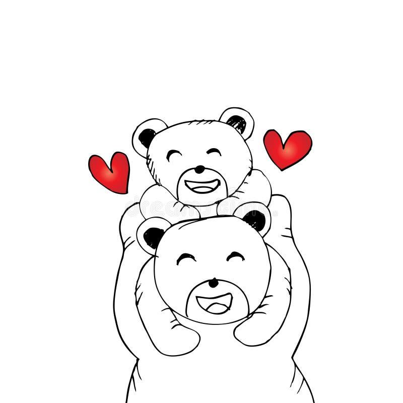 Fostra björnen och behandla som ett barn björnen royaltyfri illustrationer