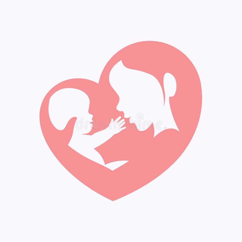 Fostra hållande litet behandla som ett barn i hjärta formad kontur vektor illustrationer