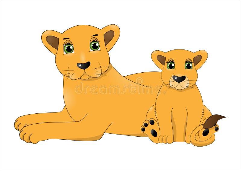 Fostra lejonet och behandla som ett barn lejonet stock illustrationer