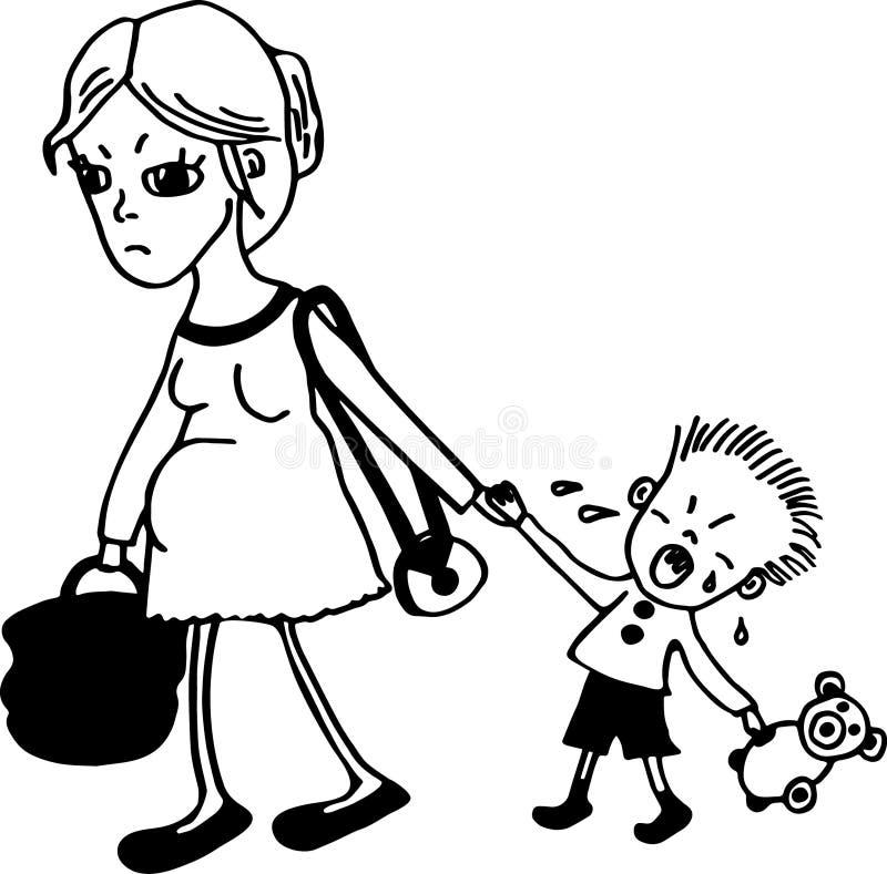 Fostra med ungen vektor illustrationer
