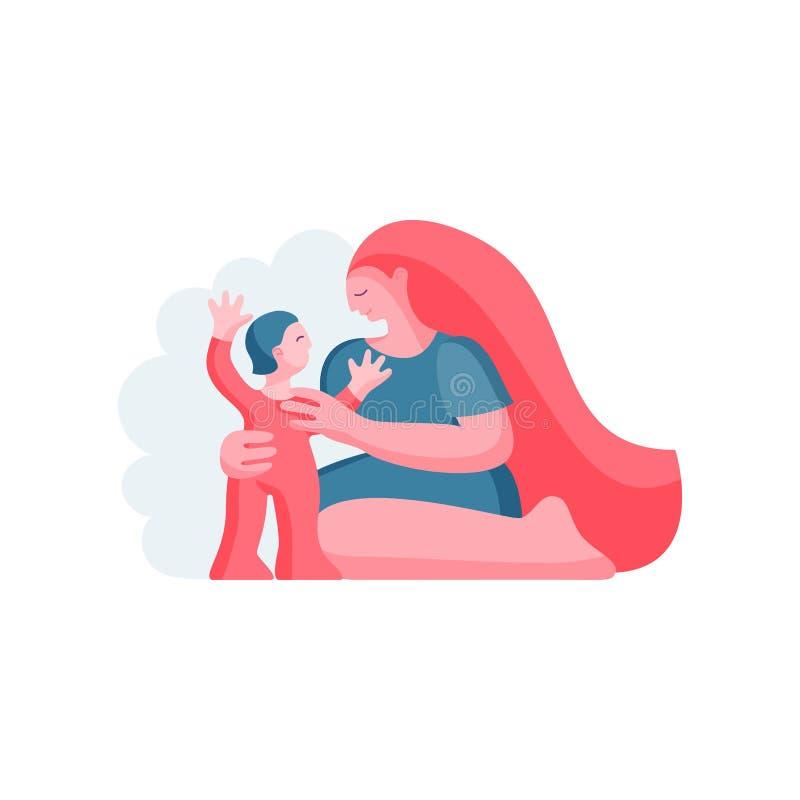 Fostra och barnet Modern kramar barnet också vektor för coreldrawillustration royaltyfri illustrationer