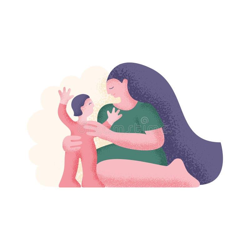 Fostra och barnet Modern kramar barnet också vektor för coreldrawillustration stock illustrationer