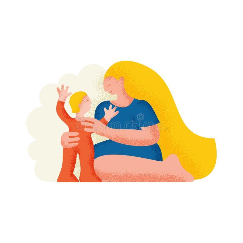 Fostra och barnet Modern kramar barnet också vektor för coreldrawillustration vektor illustrationer