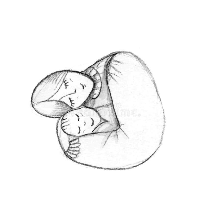 Fostra och behandla som ett barn det stiliserade symbolet, mamma kramar hennes barn Hand dragen kontur lyckliga mödrar för dag royaltyfri illustrationer