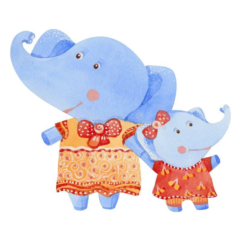 Fostra och behandla som ett barn elefanten royaltyfri illustrationer