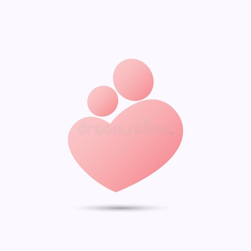 Fostra och behandla som ett barn hjärtasymbolet vektor illustrationer