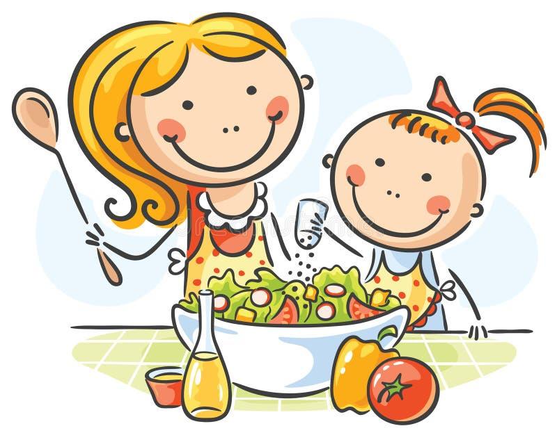 Fostra och dottermatlagning stock illustrationer