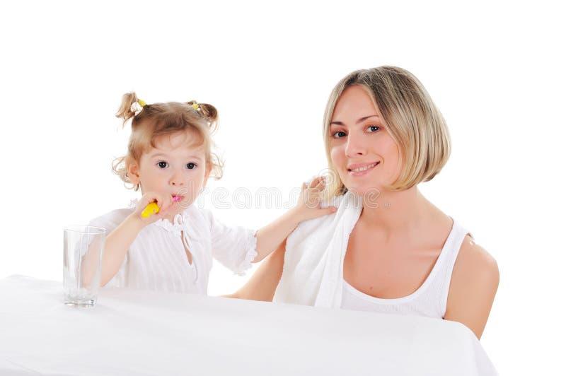 Fostra och henne den unga dottern arkivfoton