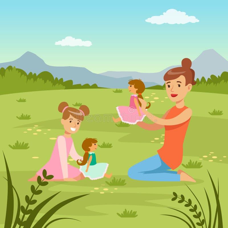 Fostra och hennes dotter som spelar dockor på naturbakgrund, illustration för vektor för familjfritidlägenhet royaltyfri illustrationer