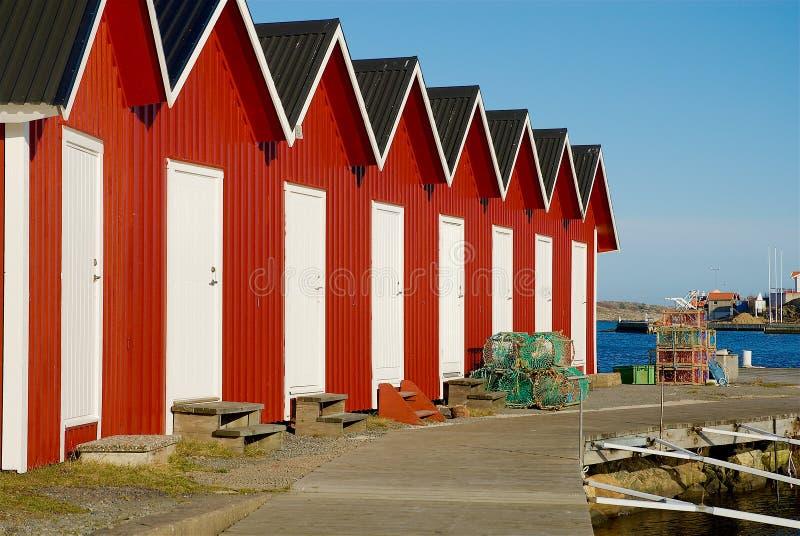 Fotö, barco de casas do barco na costa oeste na Suécia imagem de stock royalty free