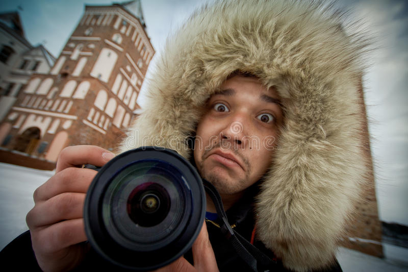 Fotógrafo alegre imagens de stock royalty free