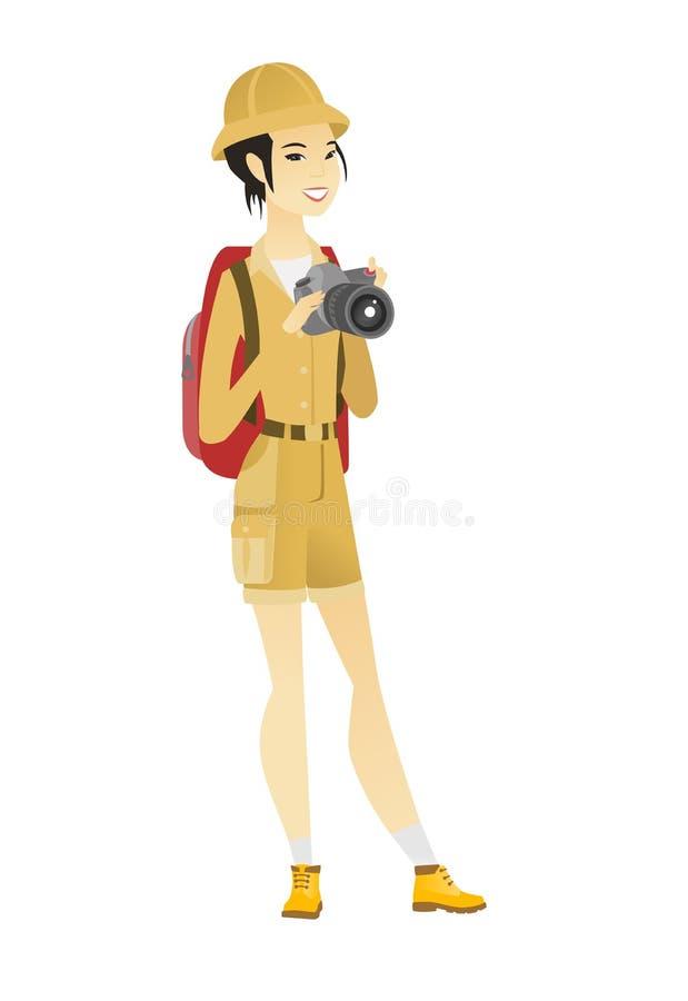 Fotógrafo asiático de la naturaleza con la cámara digital libre illustration