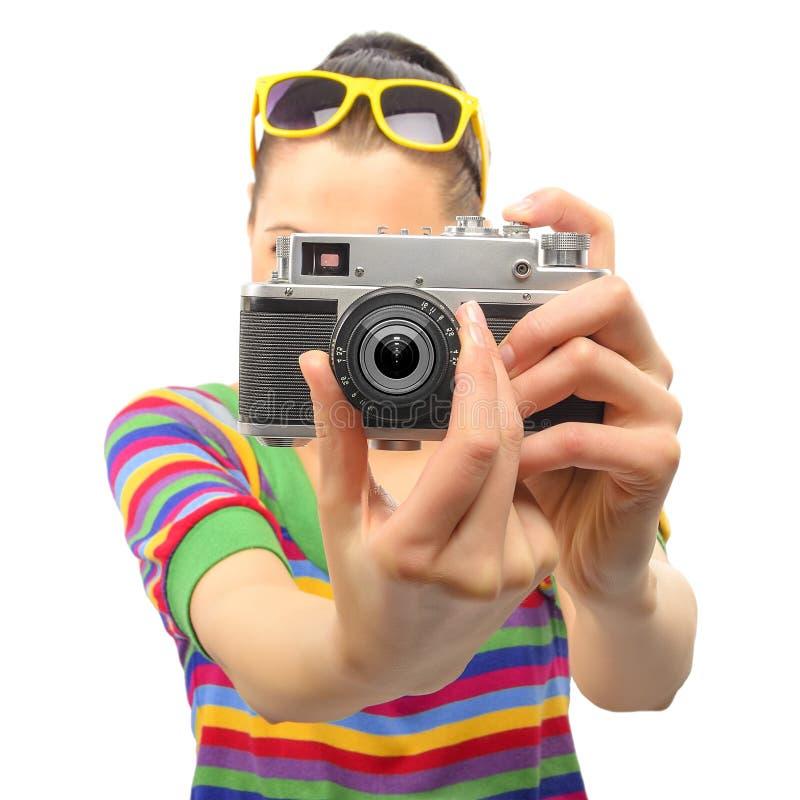 Fotógrafo bonito de la mujer imagen de archivo