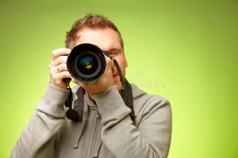 Fotógrafo com câmera fotografia de stock