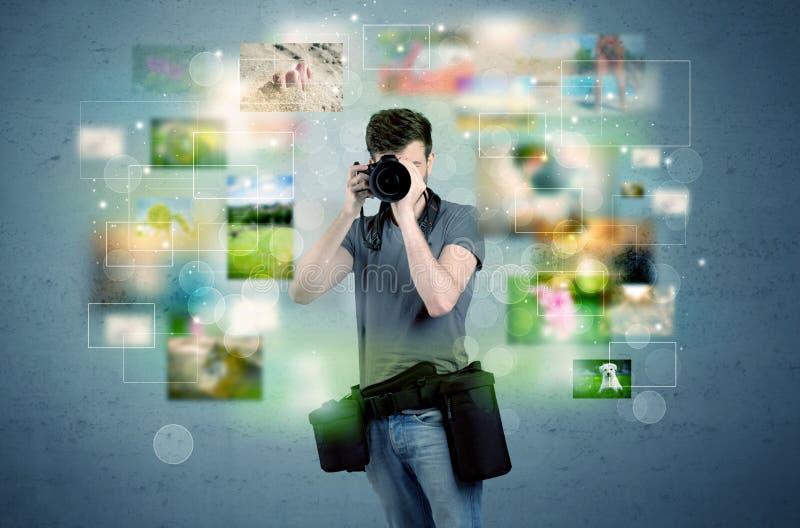 Fotógrafo com imagens do passado ilustração do vetor