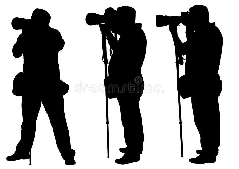 Fotógrafo com monopod ilustração do vetor