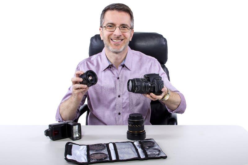 Fotógrafo con el equipo fotos de archivo libres de regalías